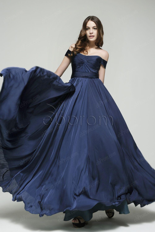 Off the shoulder navy blue prom dress evening dresses