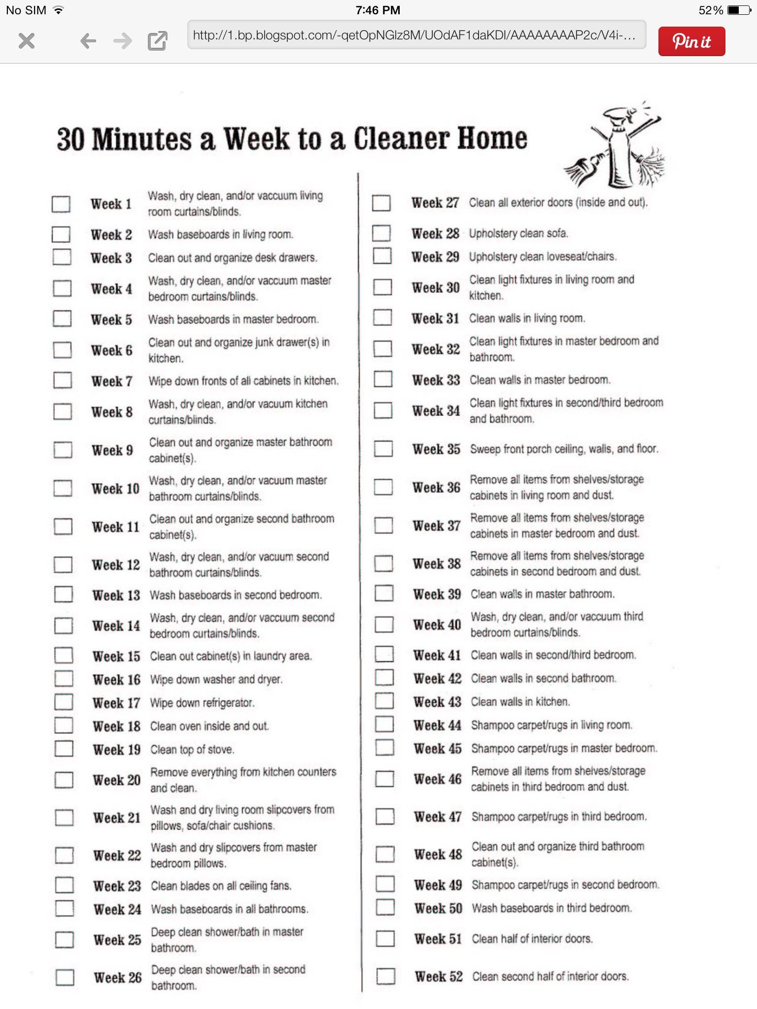 Weekly Deep Clean Schedule