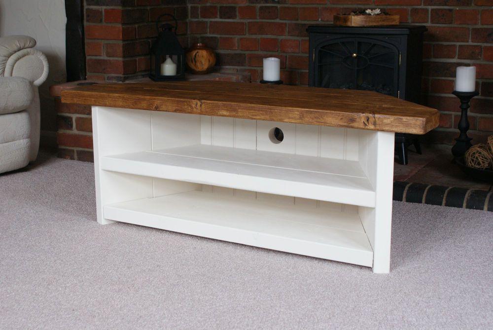 Details About Cottage Style Rustic Corner Tv Unit Living Room Tv