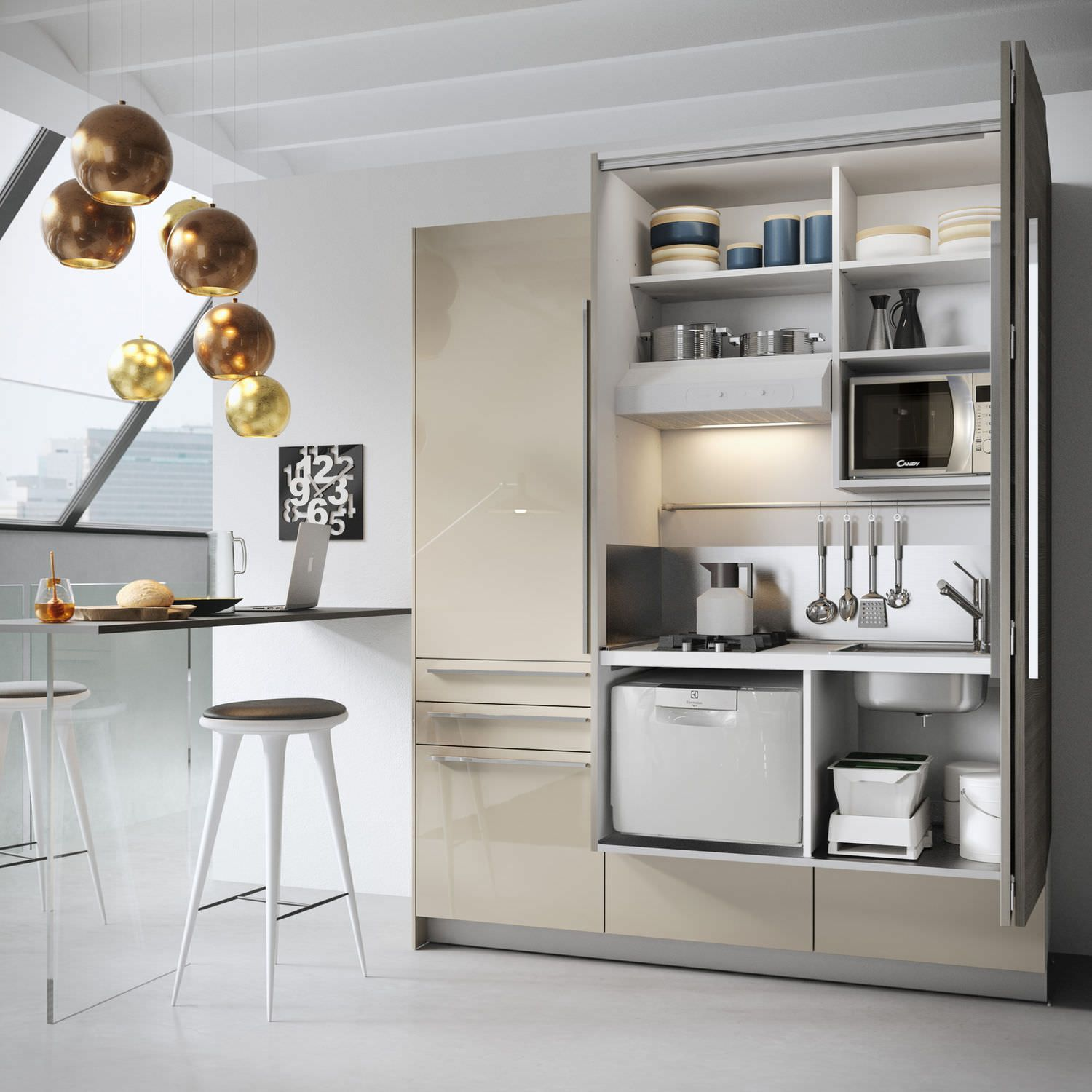 compact kitchen hidden with swing doors by minisystem - Compact Kitchen Ideas