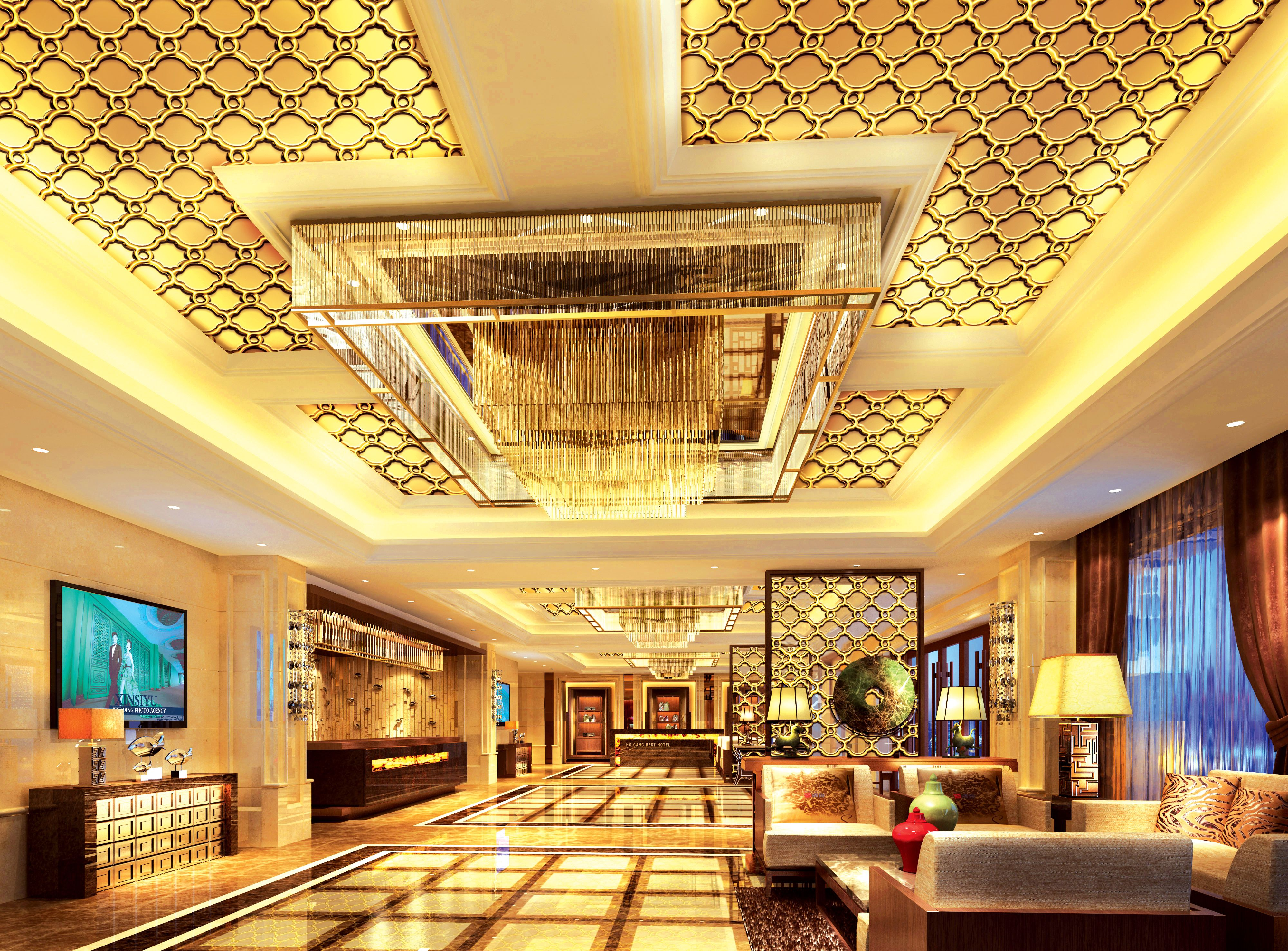 Gold Hollow Stainless Steel Projects For Ceiling Decoration Various Pattern