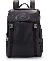 fb8af71787ee Prada Mens Leather Doublebuckle Backpack - Lyst
