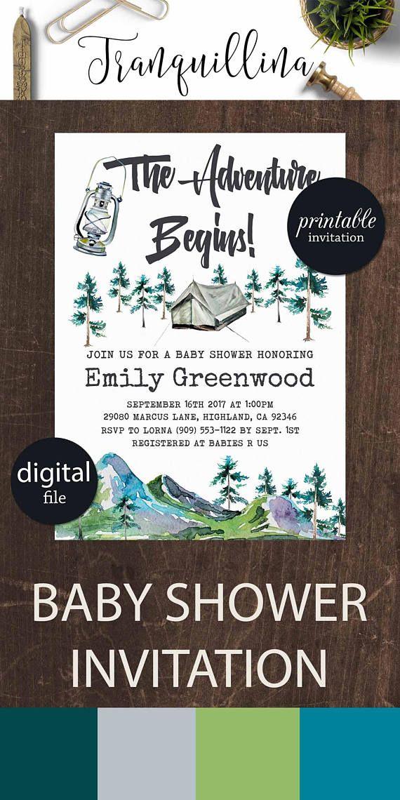 Adventure Begins Baby Shower Invitation Mountain Baby Shower ...