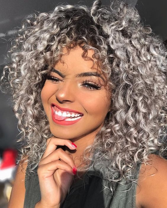 Women S Short Afro Curly Mix Gray Hair Wig With Bang