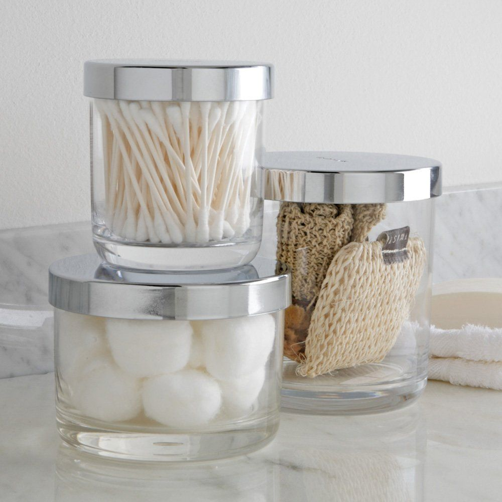 Exceptionnel 3 Piece Spa Canister Set Bathroom Decor Storage Nice Glass Jars Organize New