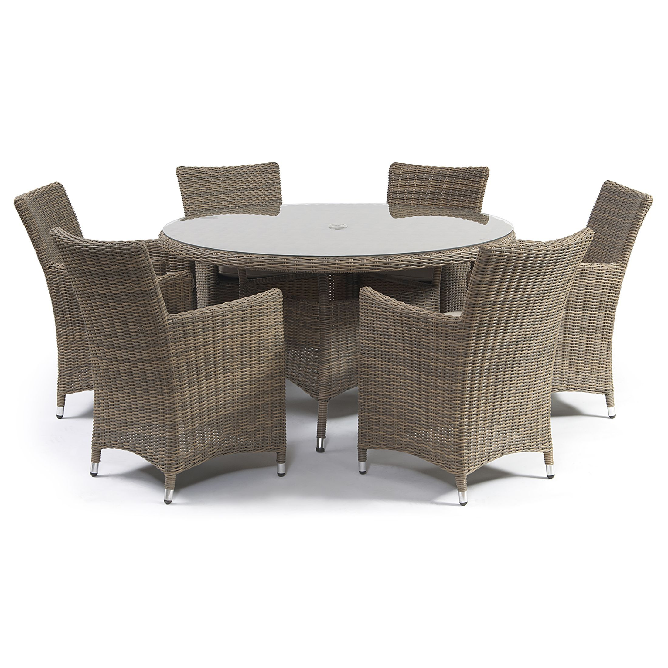 7 Piece Round Patio Dining Set 7 Piece Causeway Rattan Dining Collection Natural Semi