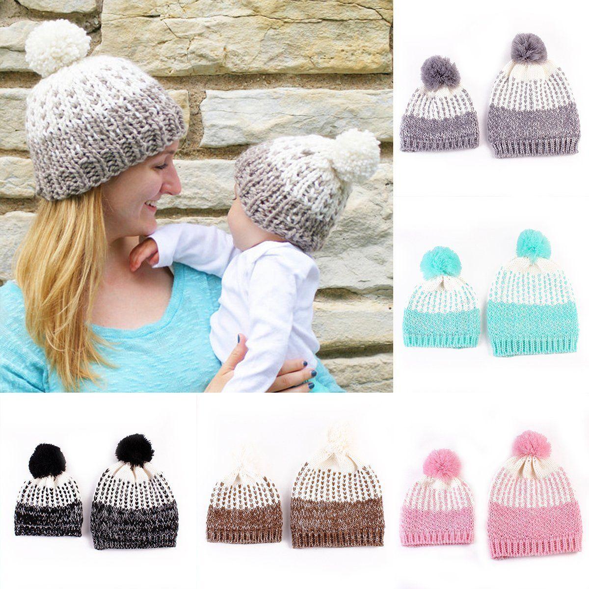 67ddfd7e33f 3.68AUD - 2Pcs Winter Warm Momborn Baby Boy Girl Hats Crochet Knit Hairball  Beanie Cap  ebay  Fashion