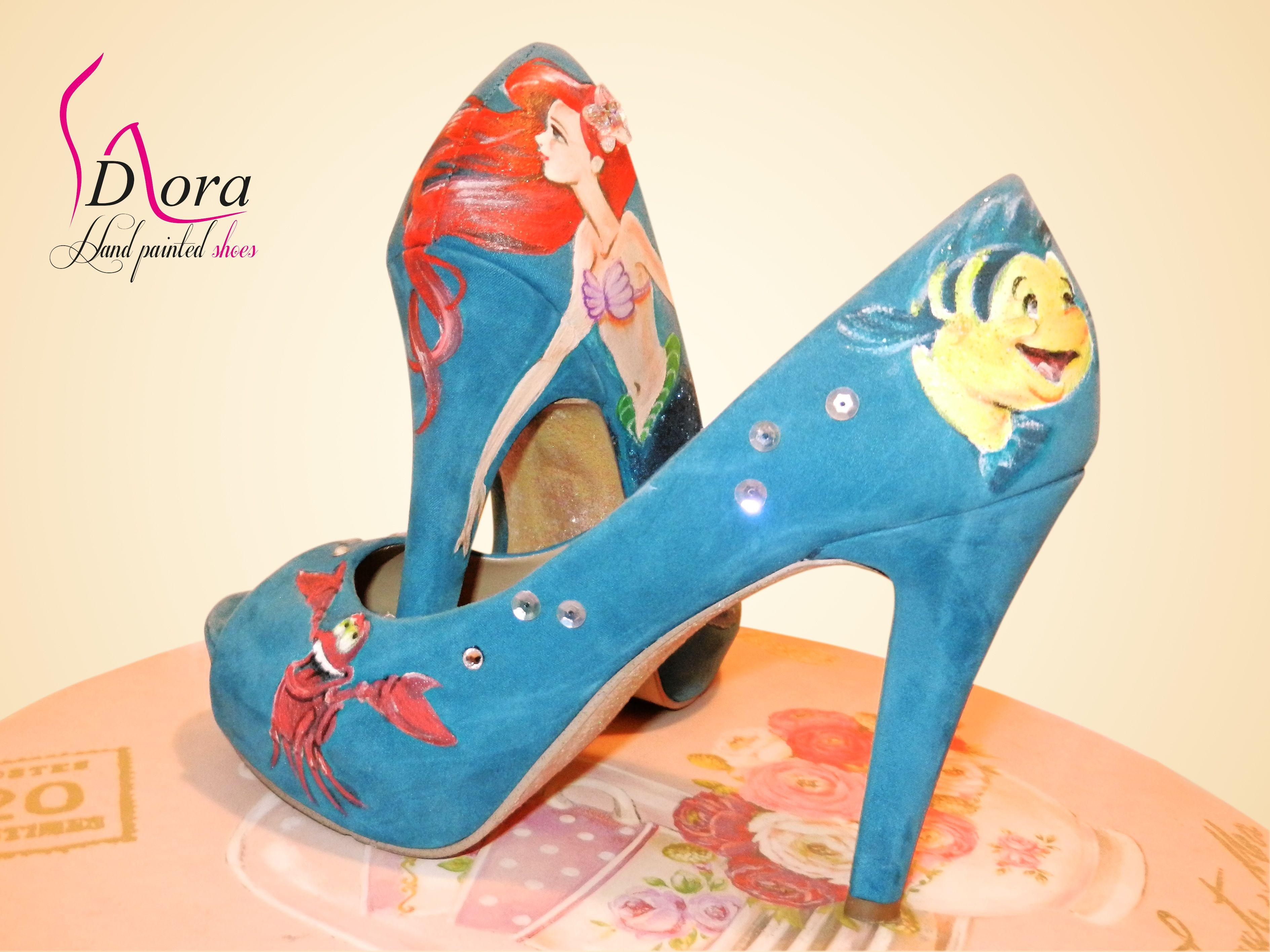 https://www.facebook.com/pages/DORA-Hand-Painted-Shoes/144006675801939  #handpainted  #hand #painted #shoes #little #mermaid #ariel #scarpe #dipinte #mano #sirenetta #flounder #sebastian #art #fashion #hight #heels