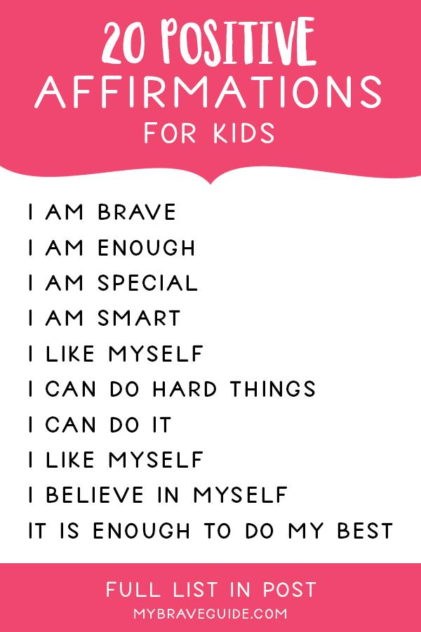 Self-Esteem Affirmations for Kids