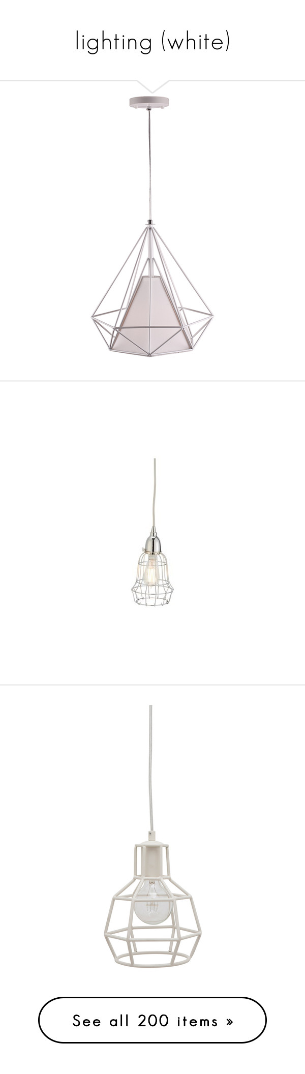 """""""lighting (white)"""" by papee ❤ liked on Polyvore featuring home, lighting, ceiling lights, colored light, black and white lamp, colored lamps, colored pendant lights, colored lights, miniature lamp and mini lamp"""