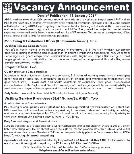 Monitoring \ Evaluation Officer,Project Officers, \ Visiting - staff evaluation