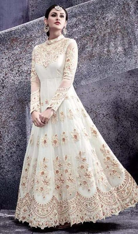 Off White Color Embroidered Net Long Anarkali Suit