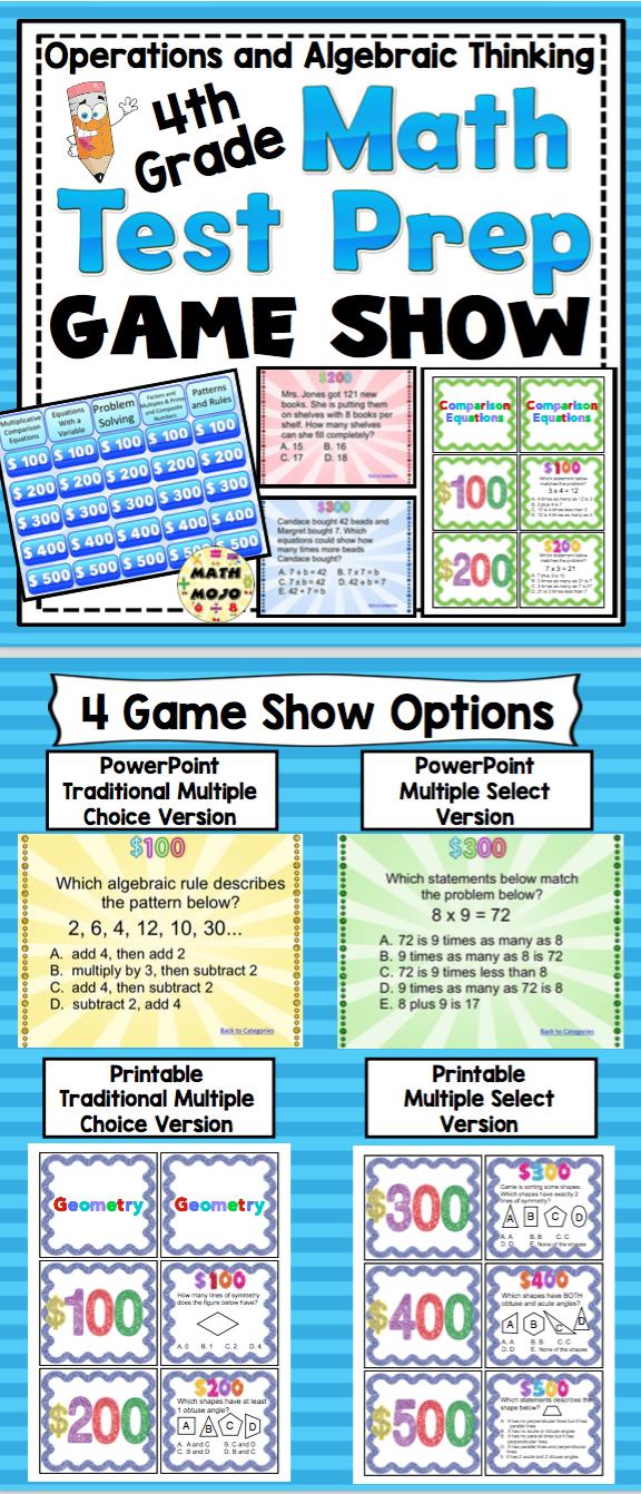 4th Grade Math Test Prep Game Show: Operations and Algebraic ...