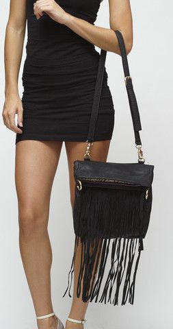 Whitney Fringe Convertible Bag - Raven