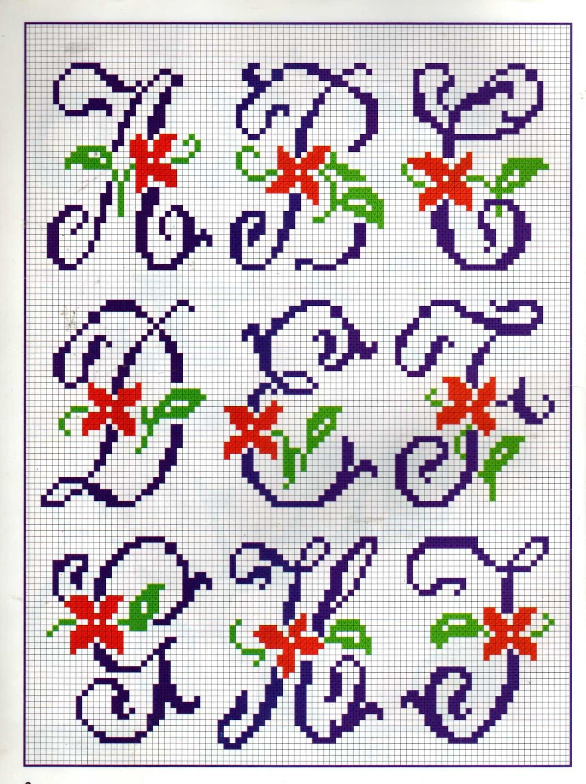Alfabeto Com Mini Flores Em Ponto Cruz Padroes Alfabeto Ponto