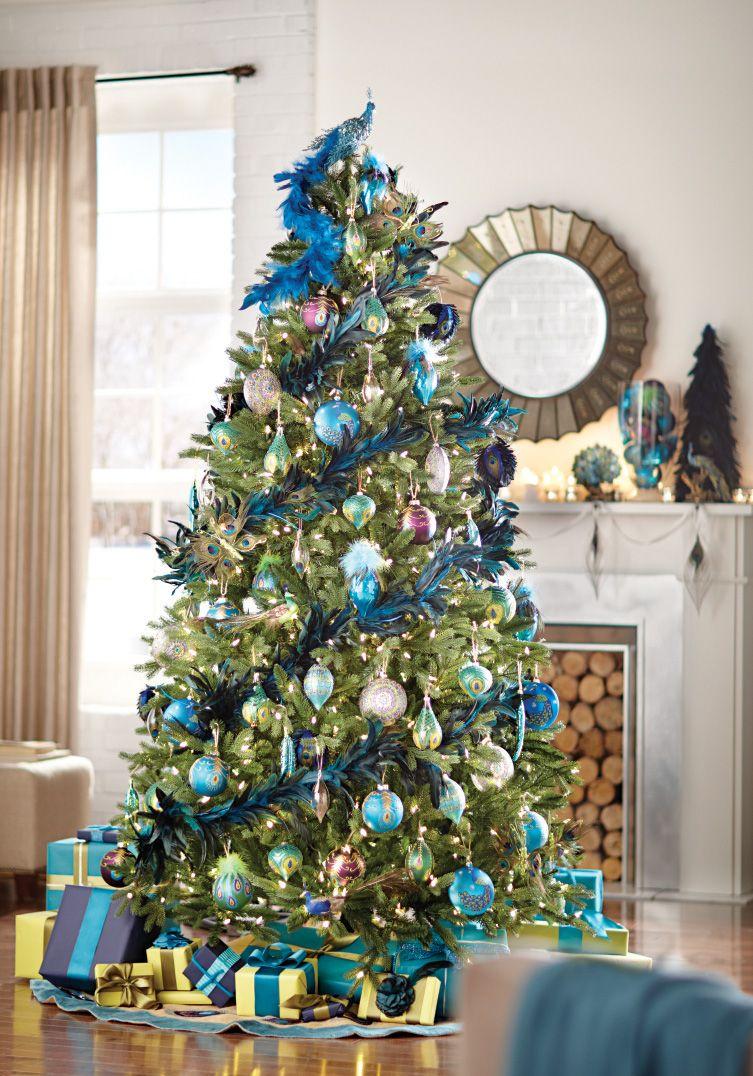 Pin By Home Decorators Collection On Holiday Creative Christmas Trees Peacock Christmas Tree Peacock Christmas