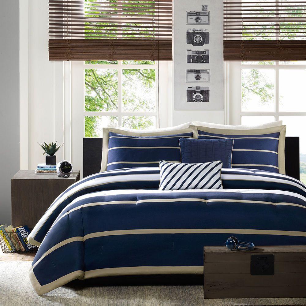 Modern Soft Sporty Blue White Nautical Tan Stripe Comforter Set Pillow New Quality