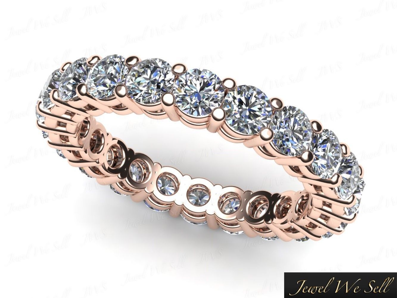 Ct round diamond shared prong gallery eternity band ring k