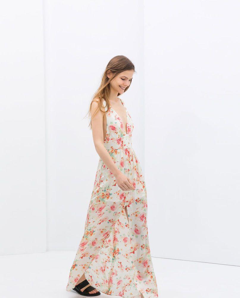 Zara Trafaluc 2014 Sleeveless Long V Neck Maxi Floral Print Dress Size S Zara Maxi Floral Print Dress Long Zara Woman Dress Dresses