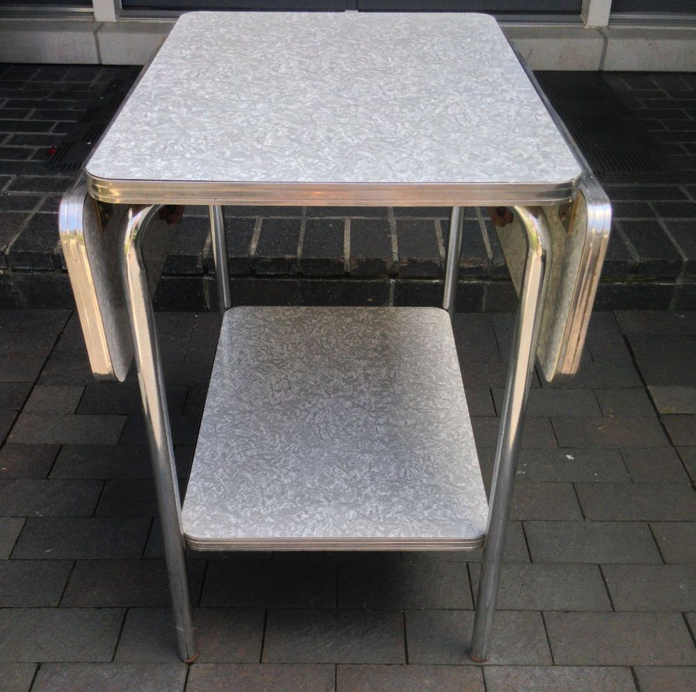 Vintage 50 S Formica Chrome Drop Leaf Shelf Cart Table