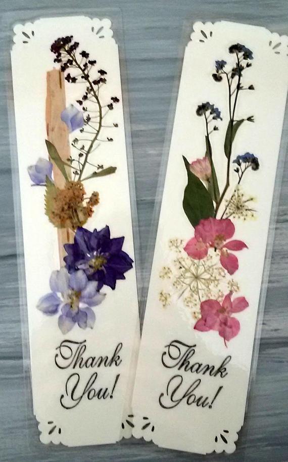 DANKE BOOKMARK – einzigartige gepresste Blume botanische Kunst Lesezeichen, gepresste Blumen und Blätter, Danke Andenken, Lehrer Wertschätzung