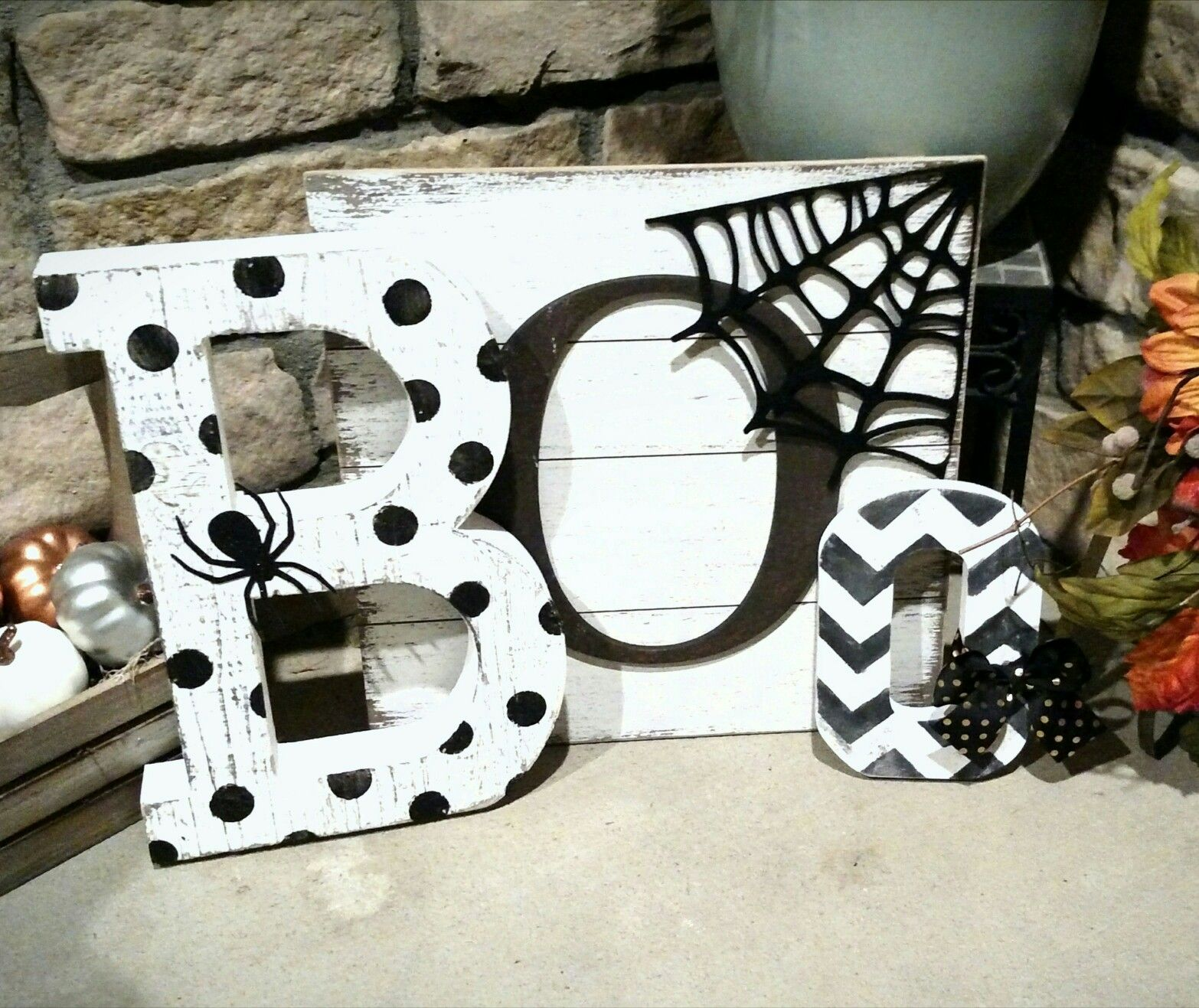 A little help from Hobby Lobby, paint, ribbon and cutoutsloving - Hobby Lobby Halloween Decorations