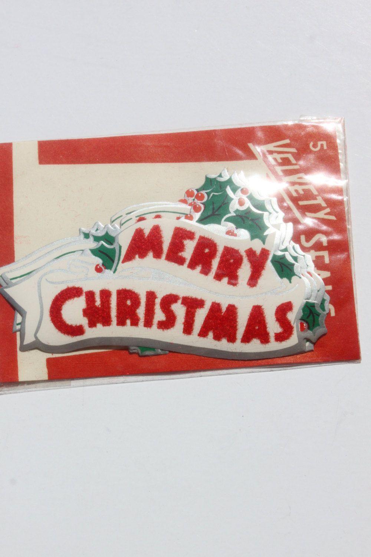 Vintage Flocked Christmas Seals Merry by BingusPingusPaper on Etsy