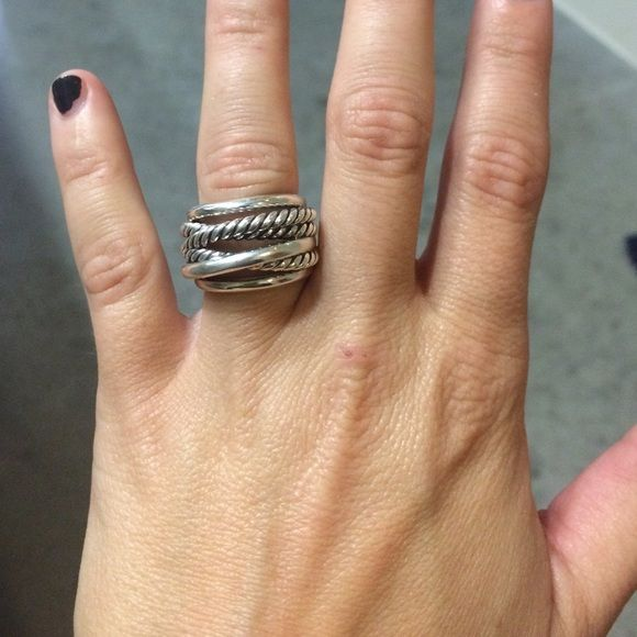 Double cross over silver ring
