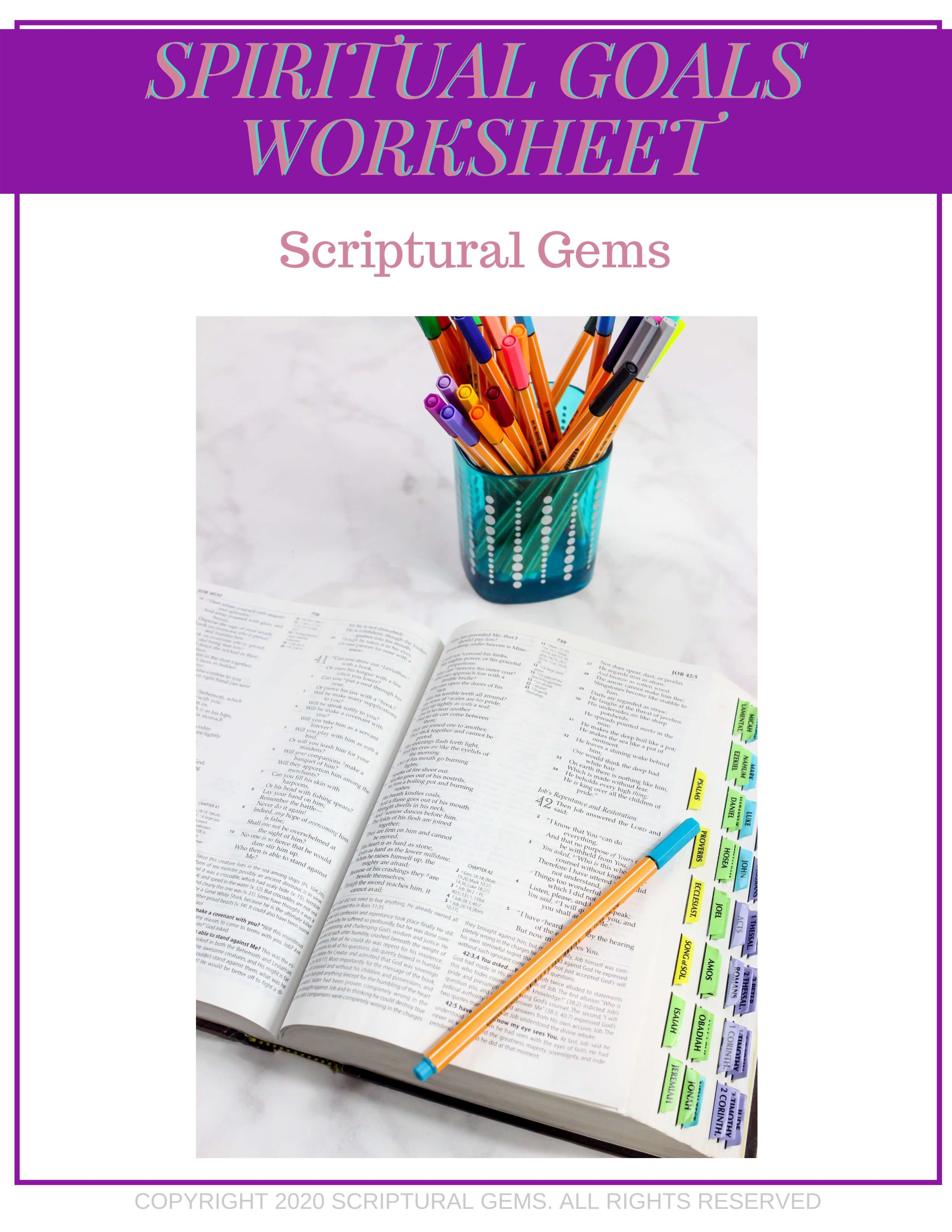 Setting Spiritual Goals Worksheet In With Images
