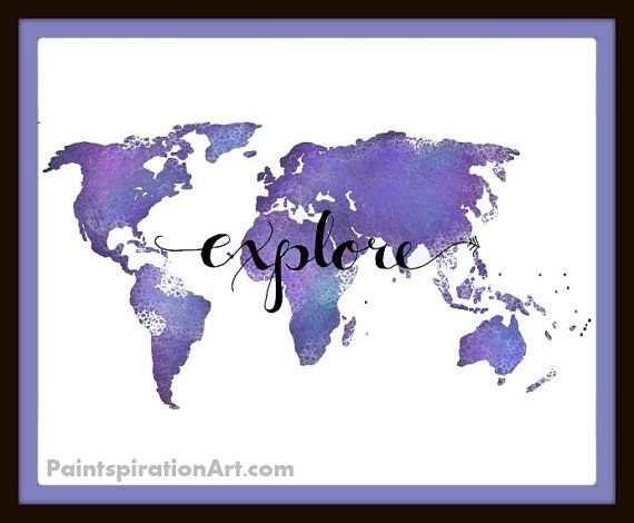 Map of the world travel art print gift for travelers world map map of the world travel art print gift for travelers world map poster quote gumiabroncs Gallery