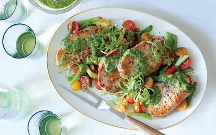 Pork Medallions With Scallions And Magic Green Sauce From The Cooking Light  Diet