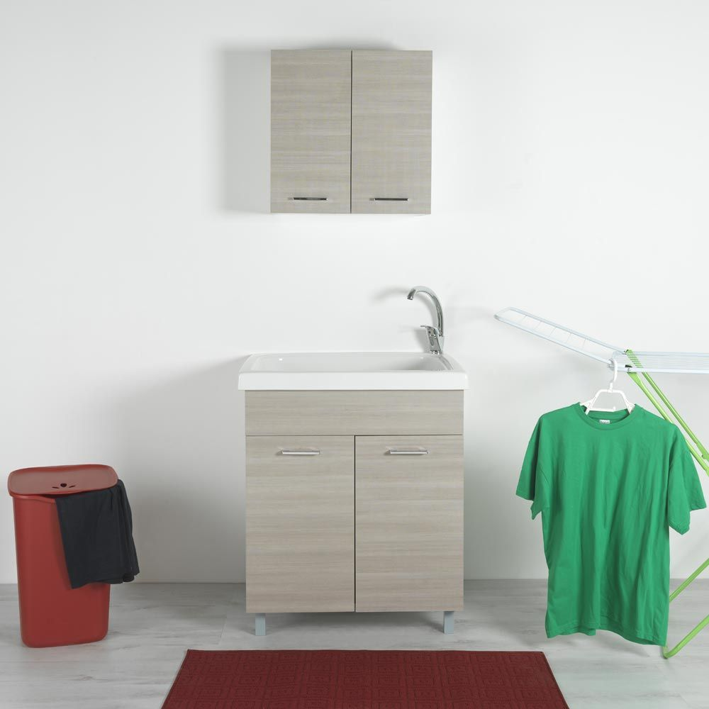 Vasca lavapanni 75x65 in ceramica con mobile Rodano Bianco