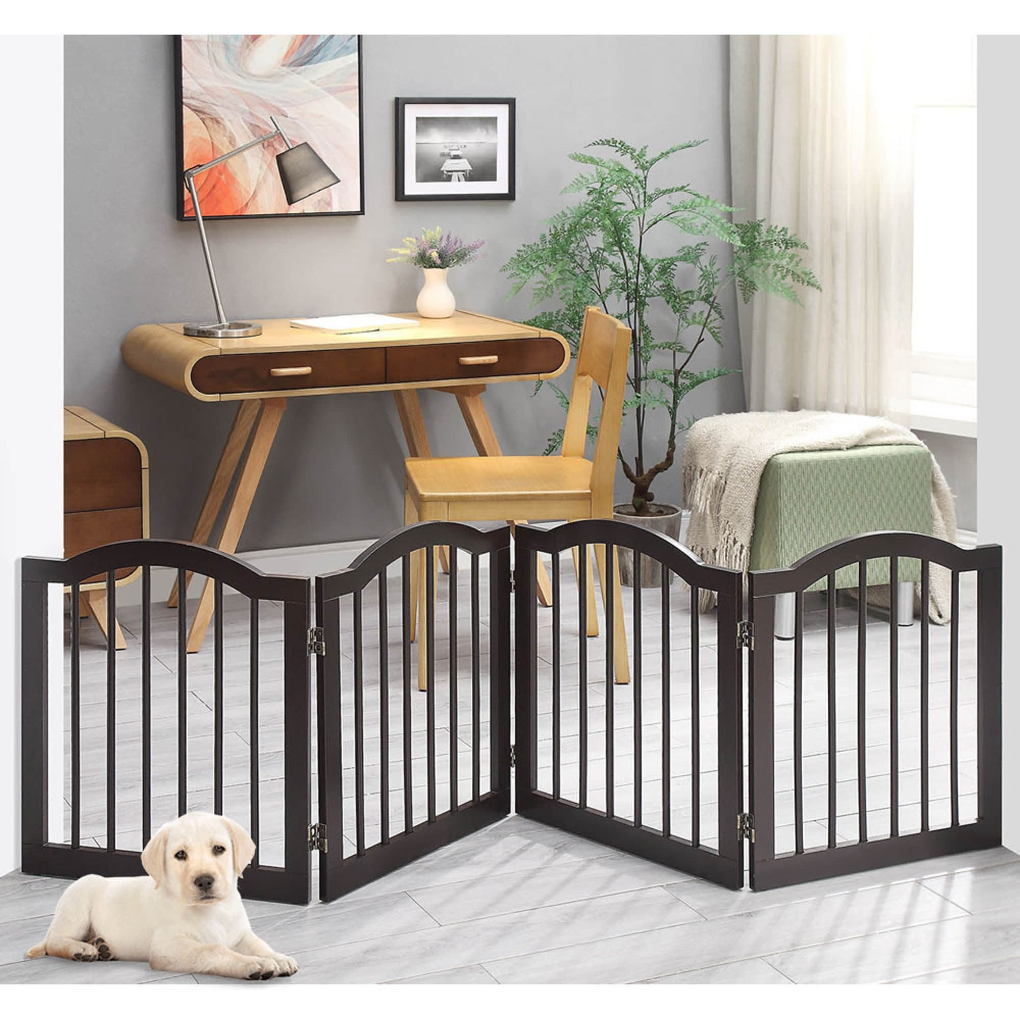 Unipaws Arched Top 4 Panel Dog Gate Espresso Freestanding 20 80