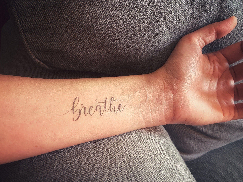 Breathe Calligraphy Temporary Tattoo Minimalist Temporary Etsy In 2020 Forearm Tattoo Women Simple Forearm Tattoos Word Tattoos On Arm