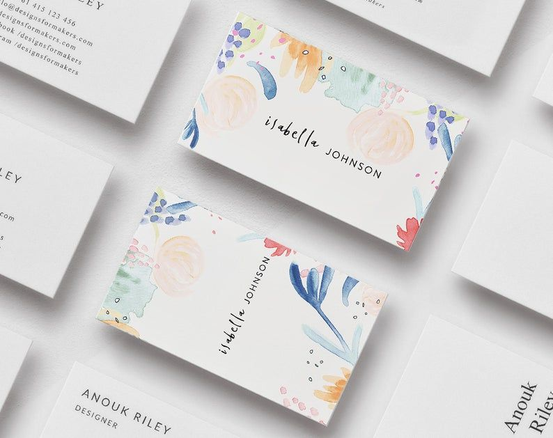 Watercolor Business Card Watercolor Flowers Abstract Art Logo