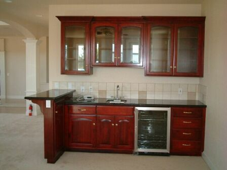 Wet Bar Small Fridge Microwave No Sink Or Top Cabinets