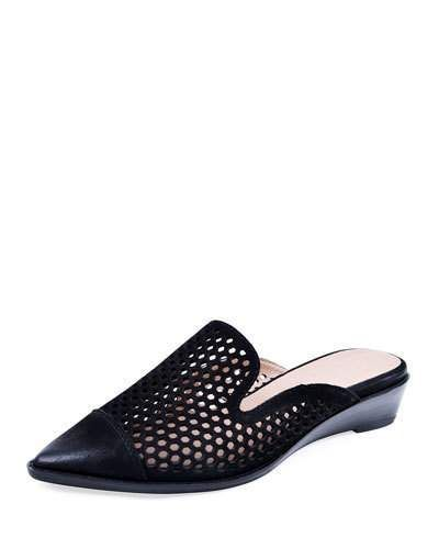 4626381f85 Bettye Muller Concept Cara Perforated Leather Mules, Black Leather Mules,  Wedge Heels, Neiman