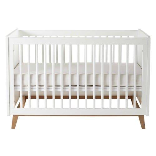 Lit Bebe A Barreaux Blanc L126 Baby Bed Bed Rustic Crib