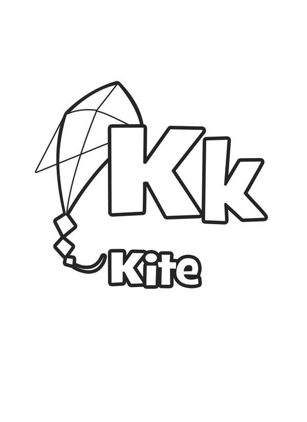 Flying Kite For Letter K Coloring Page Bulk Color di 2020