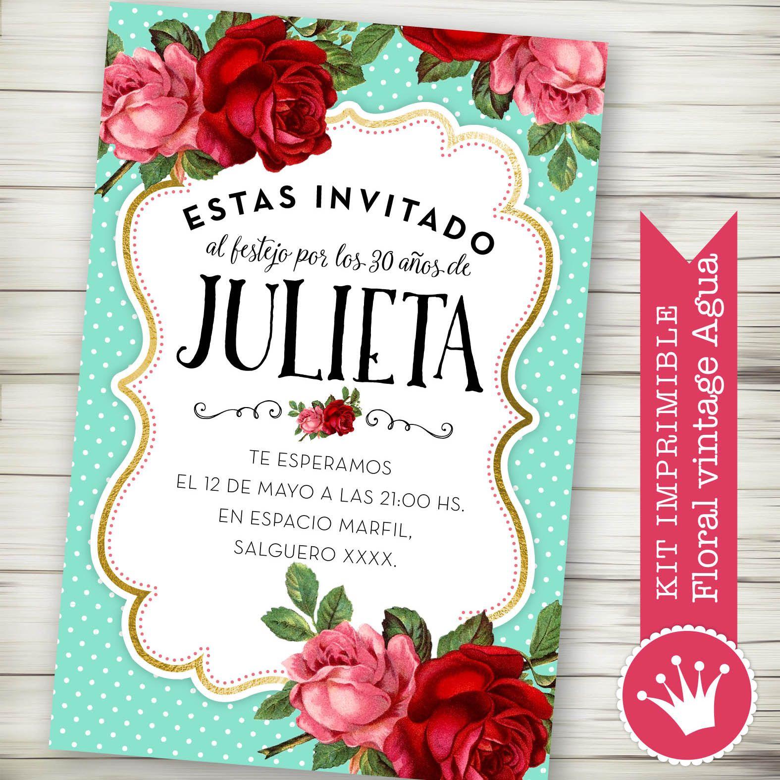 Kit Imprimible Personalizado Floral Vintage Aguamarina