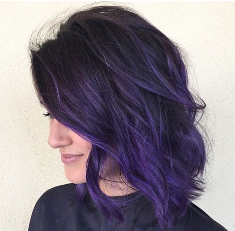 pin dark purple hair