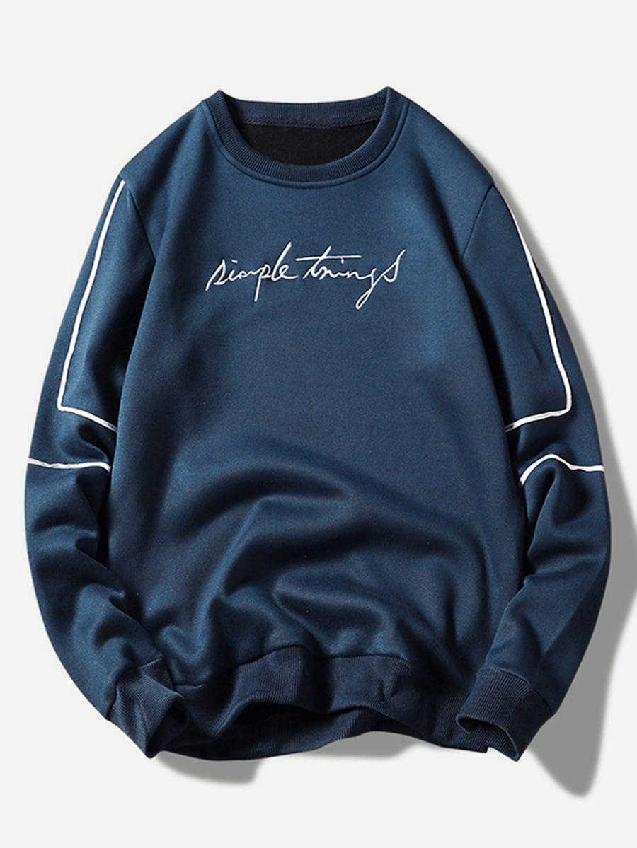Men Embroidery Letter Sweatshirt Shein Sheinside Sweatshirts Mens Sweatshirts Embroidered Sweatshirts [ 1199 x 900 Pixel ]