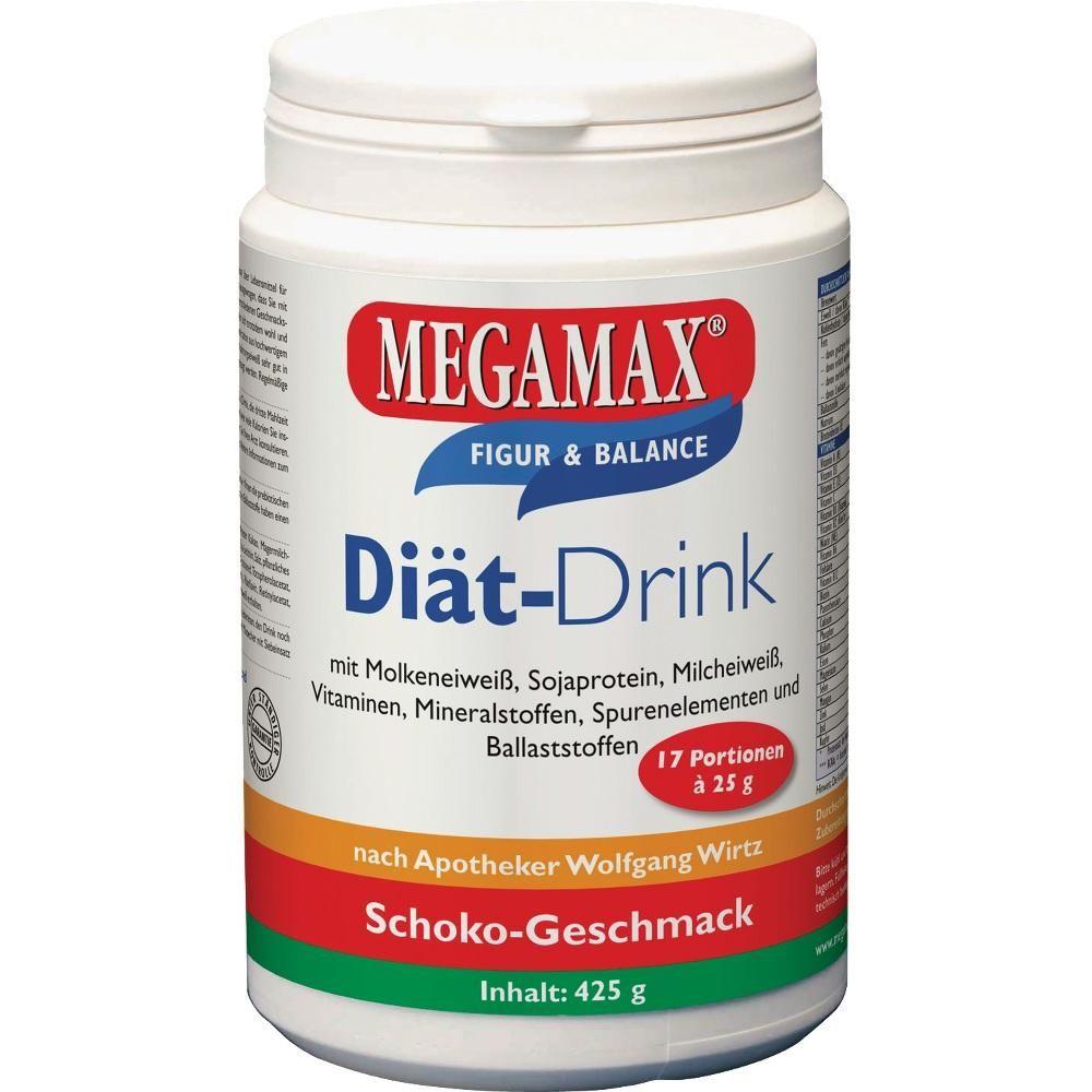 MEGAMAX Diät Drink Schoko Pulver:   Packungsinhalt: 425 g Pulver PZN: 07577659 Hersteller: Megamax B.V. Preis: 10,29 EUR inkl. 7 % MwSt.…