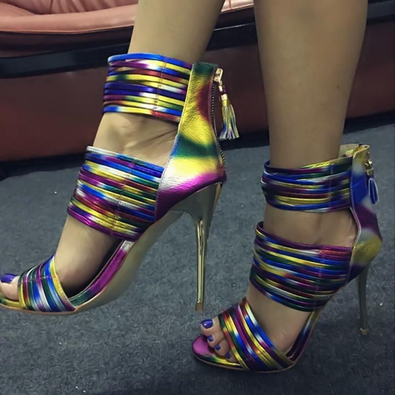 Shoespie Neon Strappy Stiletto Heel Sandals