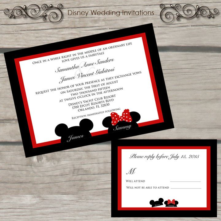 Disney Wedding Invitation By Thelittlestickynote On Etsy Invites