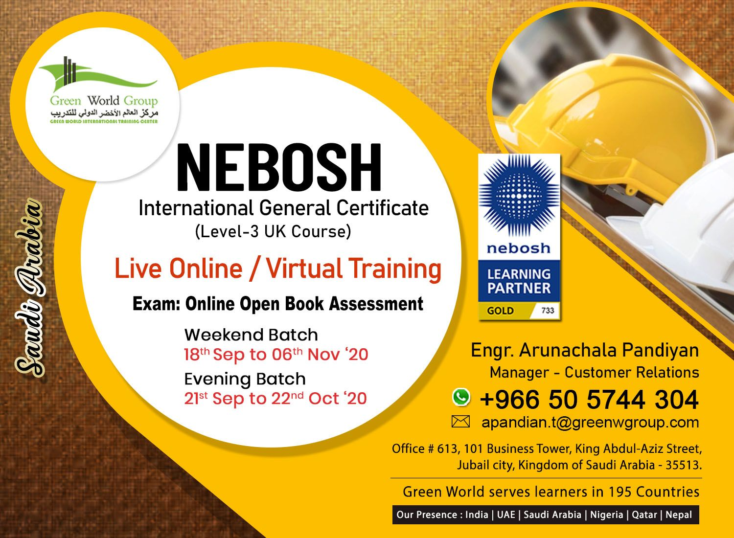 NEBOSH in Saudi Arabia NEBOSH Accredited Centre in Saudi
