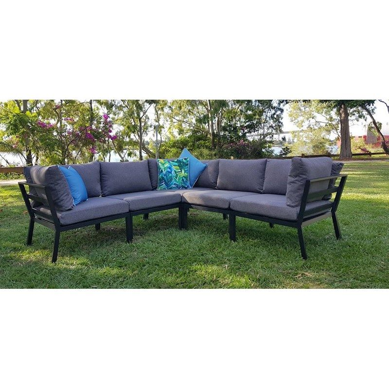 Maldives 5pc Modular Corner Suite In Black Frame And Pebble Olefin Fabric Outdoor Lounge Outdoor Furniture Sets Furniture