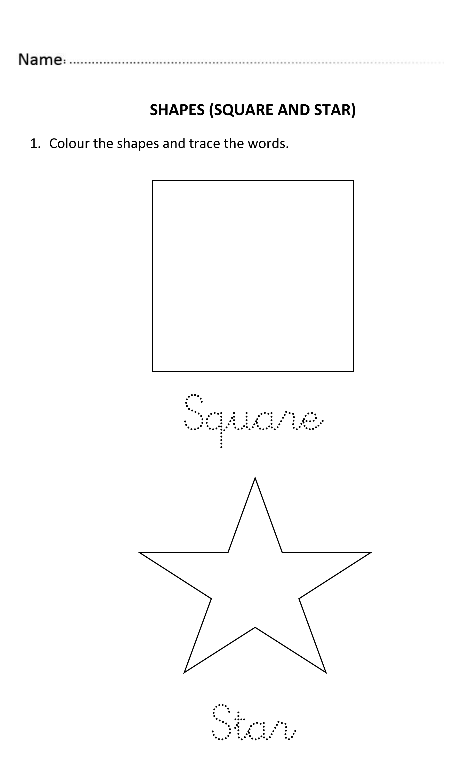 Easy and fun worksheet to introduce squares, stars, circles and ...