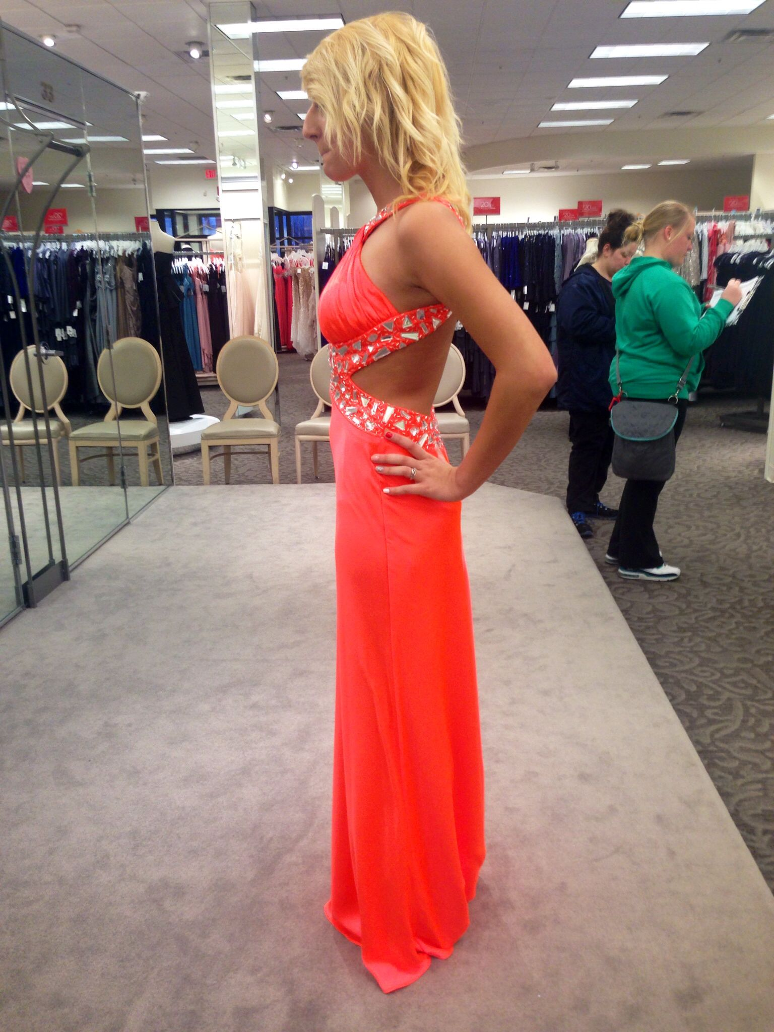 Neon orange David's bridal prom dress | Prom | Pinterest | Prom ...
