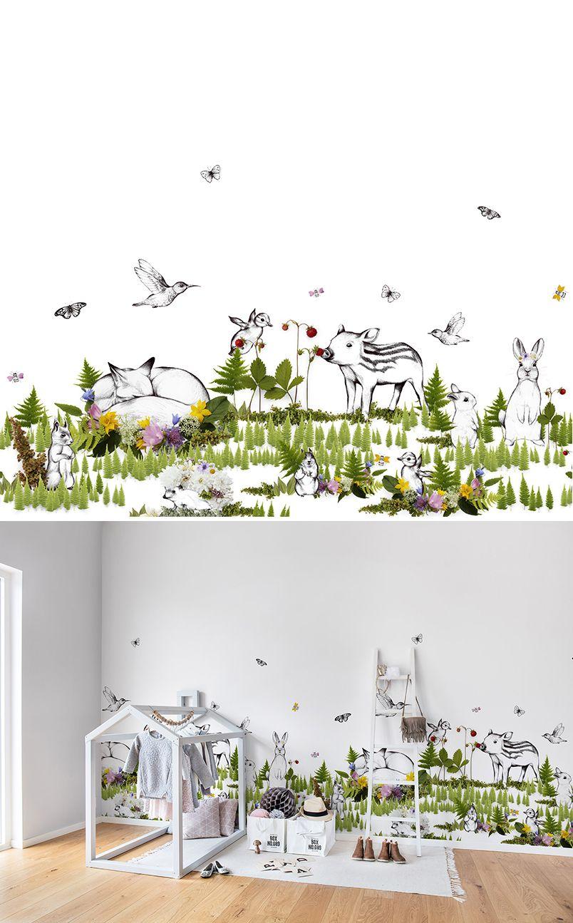 the rabbit s playground nursery wallpaper wall murals and nursery wallpaper wall mural interior design kids room nursery wallpaper for